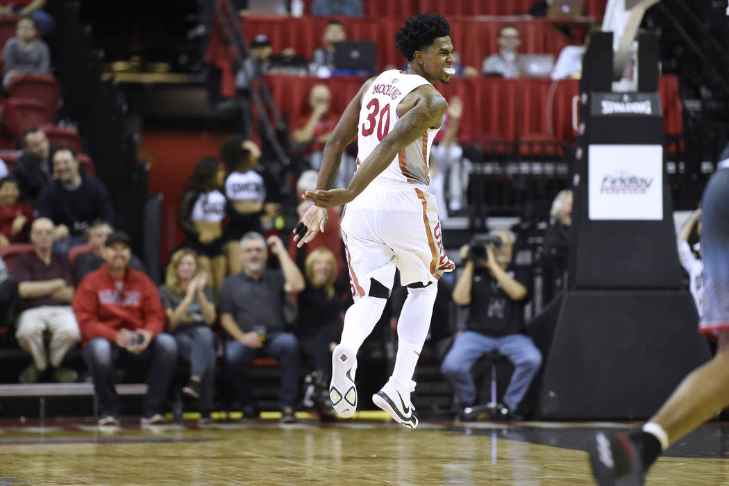 UNLV Rebels guard Jovan Mooring (30) does a little leap after scoring on Eastern Washington during their game Friday, November 17, 2017, at the Thomas & Mack Center. UNLV won the game 91-76. C ...