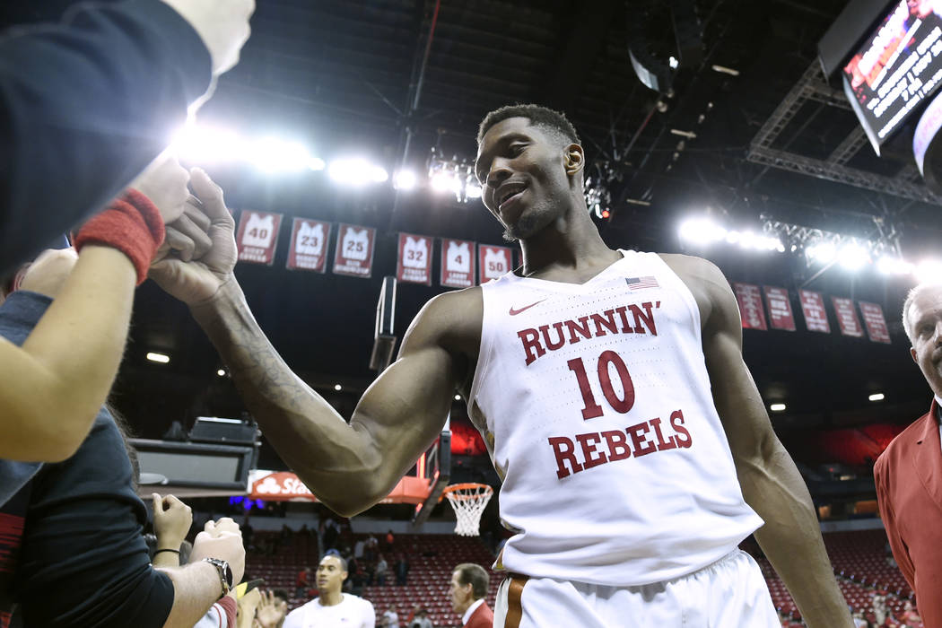 UNLV Rebels forward Shakur Juiston (10) greets fans after their game against Eastern Washington Friday, November 17, 2017, at the Thomas & Mack Center. UNLV won the game 91-76. CREDIT: Sam Mor ...