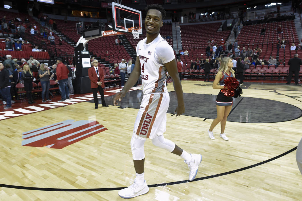UNLV Rebels forward Brandon McCoy (44) walks off the court after their game against the Eastern Washington Eagles Friday, November 17, 2017, at the Thomas & Mack Center. UNLV won the game 91-7 ...