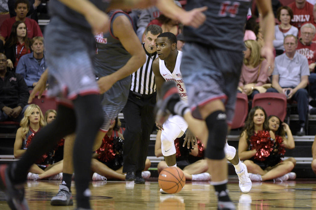 UNLV Rebels guard Amauri Hardy (3) moves the ball against the Eastern Washington Eagles during their game Friday, November 17, 2017, at the Thomas & Mack Center. UNLV won the game 91-76. CREDI ...