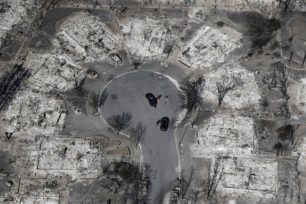An aerial view shows the devastation of the Coffey Park neighborhood after a wildfire swept through Santa Rosa, Calif., last month. (AP Photo/Marcio Jose Sanchez, File)