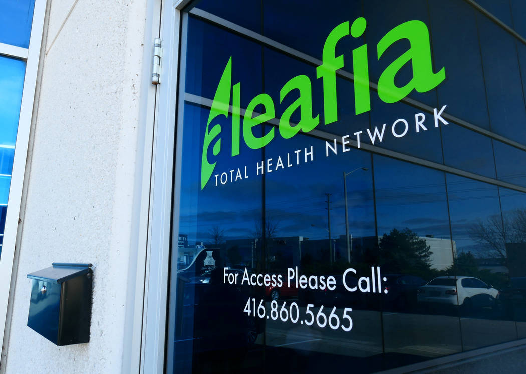The office of Aleafia, a company owned by former police chief and Conservative cabinet minister and his business partners which authorizes patients for medical marijuana use, is shown in Toronto,  ...