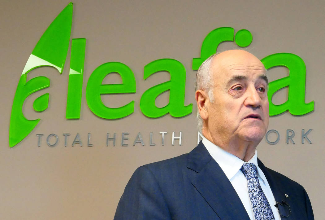 Former police chief and Conservative cabinet minister Julian Fantino speaks about his company, Aleafia, which authorizes patients for medical marijuana use, during an interview in Toronto, Ontario ...