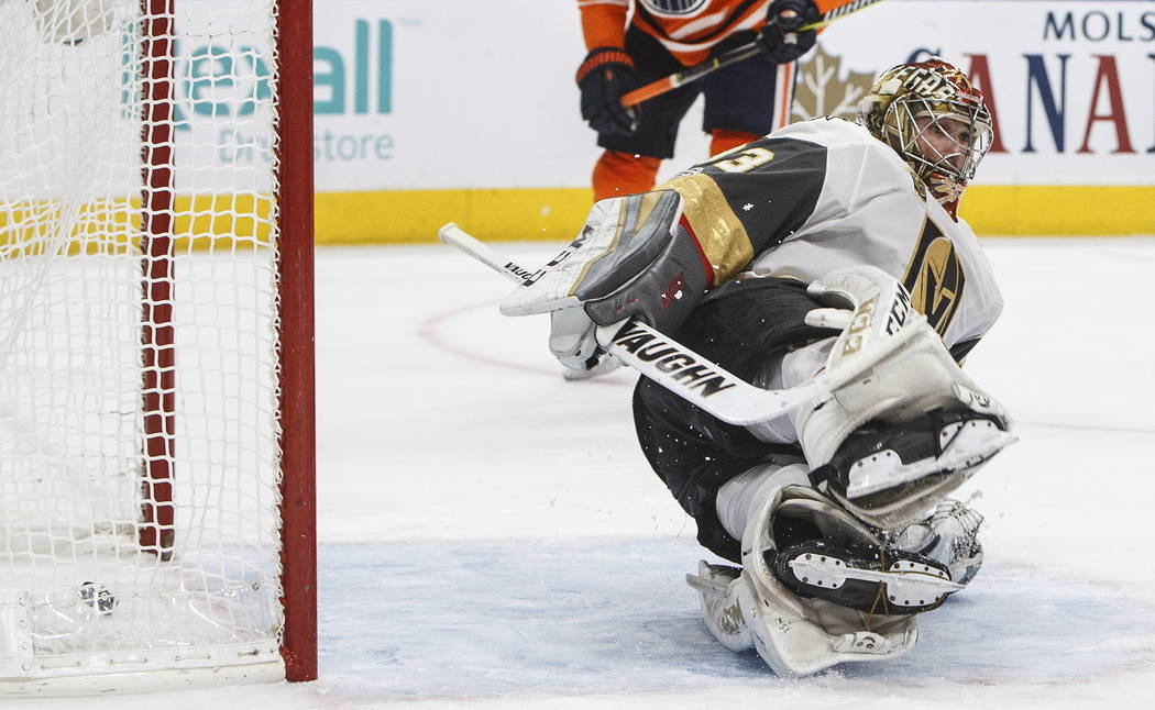 Vegas Golden Knights goalie Maxime Lagace (33) is scored on by the Edmonton Oilers during the second period of an NHL hockey game Tuesday, Nov. 14, 2017, in Edmonton, Alberta. (Jason Franson/The C ...