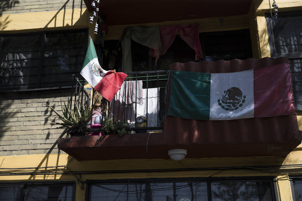 The uninhabited apartment complex, Unidad Habitacional de Tlalpan, which suffered structural damage during the Sept. 19 earthquake in Mexico City, Mexico, Friday, Nov. 17, 2017. An adjacent buildi ...