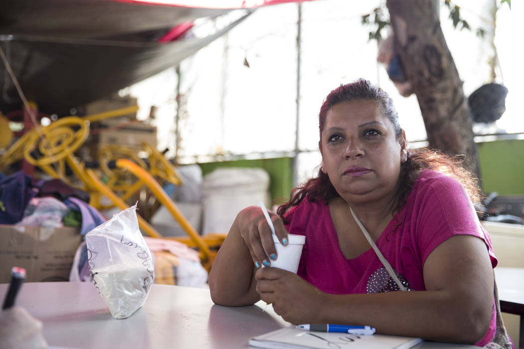 Adriana Estrada Acosta who is now homeless living in a tent after her apartment complex, Unidad Habitacional de Tlalpan, suffered structural damage during the Sept. 19 earthquake in Mexico City, M ...