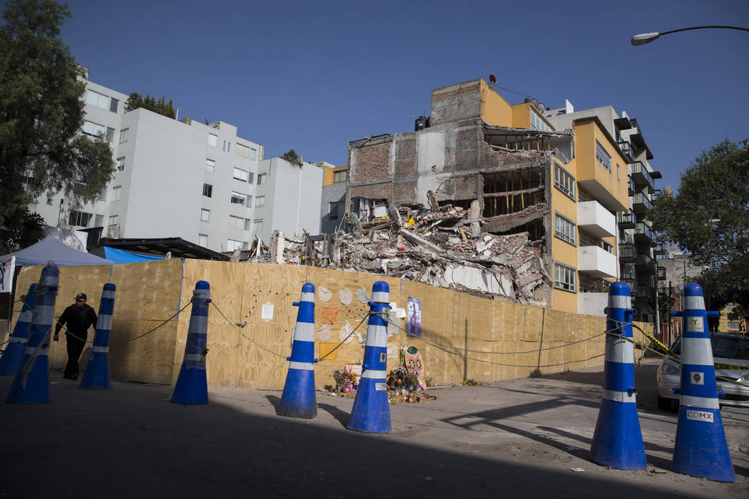 A building that suffered structural damage during the Sept. 19 earthquake in Mexico City, Mexico, Friday, Nov. 17, 2017. Erik Verduzco Las Vegas Review-Journal @Erik_Verduzco