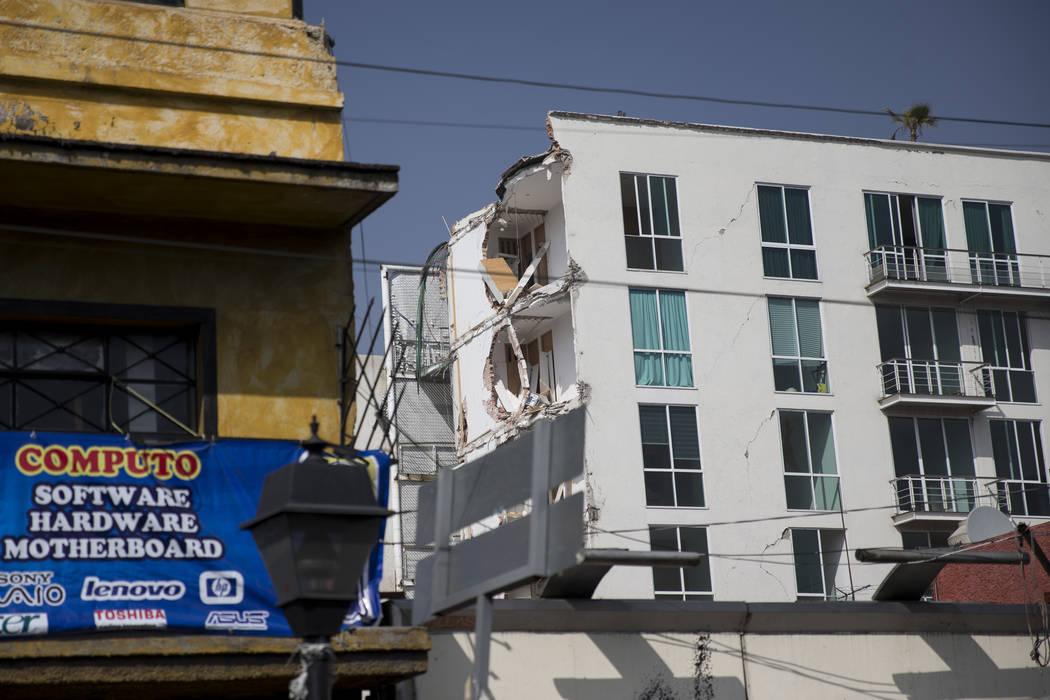 A building that suffered structural damage during the Sept. 19 earthquake in Mexico City, Mexico, Friday, Nov. 17, 2017. Erik Verduzco Las Vegas Review-Journal @Erik_Verduzco