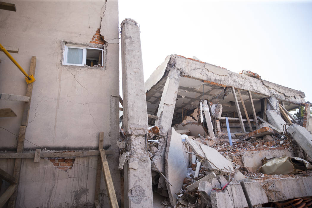 Colegio Enrique Rebsamen elementary school, which collapsed during the Sept. 19 earthquake in Mexico City, Mexico, Friday, Nov. 17, 2017. Nineteen children died in the  school collapse. Erik Verdu ...