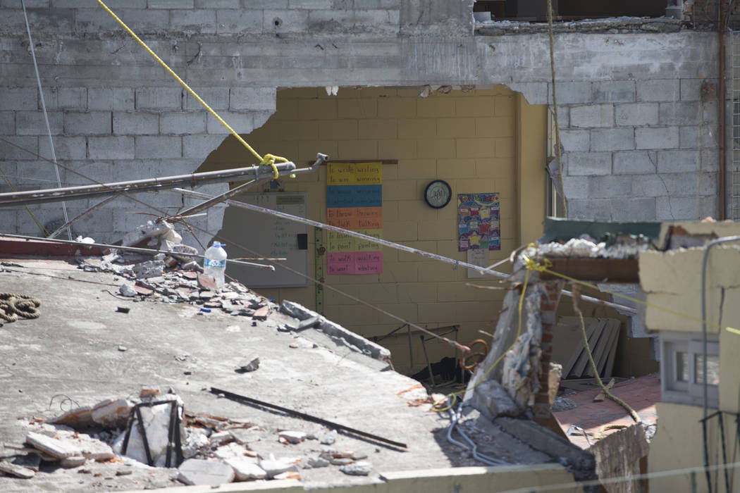 The Colegio Enrique Rebsamen elementary school, which collapsed during the Sept. 19 earthquake in Mexico City, Mexico, Friday, Nov. 17, 2017. Nineteen children died in the  school collapse. Erik V ...