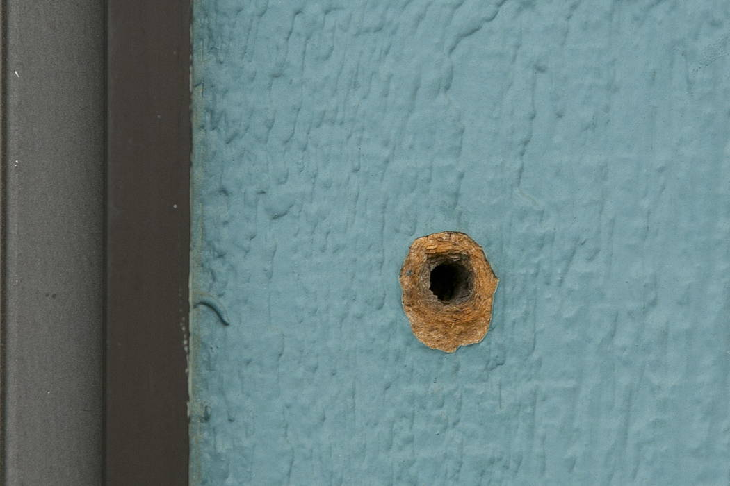 One of the bullet holes is seen in an exterior wall at the Rancho Tehama Elementary School, Wednesday, Nov. 15, 2017, from gunman Kevin Janson Neal's shooting rampage at Rancho Tehama Reserve, Cal ...