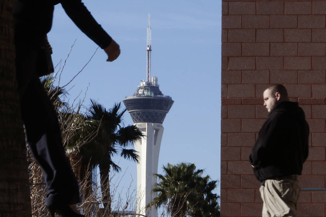 The Stratosphere tower under the blue sky as seen from Louis Avenue on sunny but cold Tuesday morning, March 7, 2017, in Las Vegas. (Bizuayehu Tesfaye/Las Vegas Review-Journal) @bizutesfaye