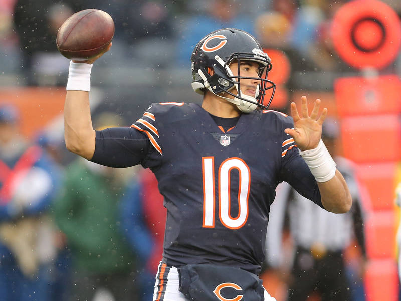 Nov 12, 2017; Chicago, IL, USA; Chicago Bears quarterback Mitchell Trubisky (10) throws a pass during the first quarter against the Green Bay Packers at Soldier Field. Mandatory Credit: Dennis Wie ...