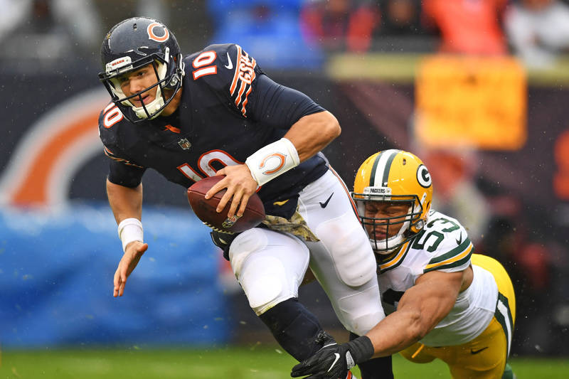 Nov 12, 2017; Chicago, IL, USA; Green Bay Packers outside linebacker Nick Perry (53) sacks Chicago Bears quarterback Mitchell Trubisky (10) during the second half at Soldier Field. The Packers won ...