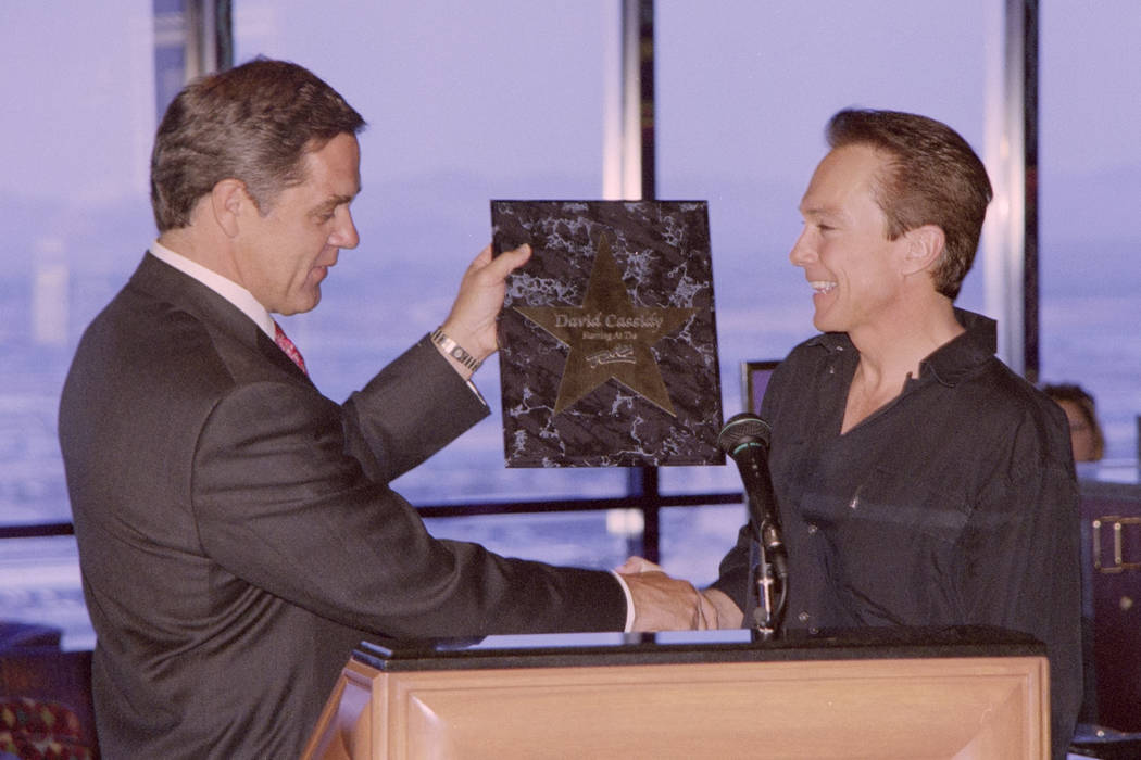 David Cassidy receives a star from the Rio during a news conference July 28, 1999, at the Rio in Las Vegas. Darren Bush/Las Vegas News Bureau
