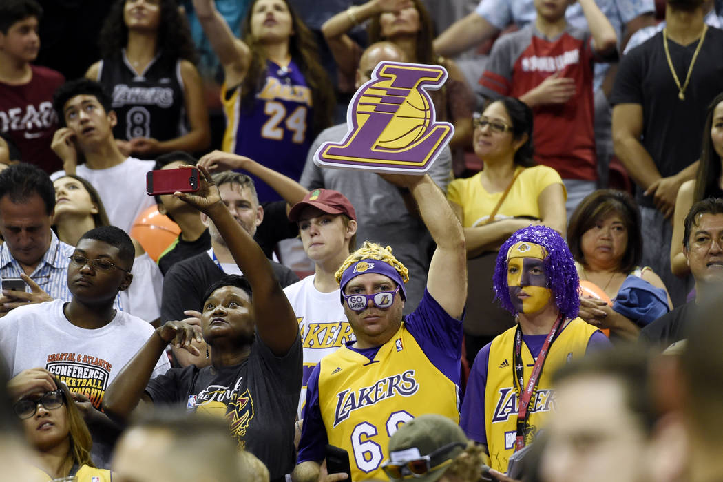 Los Angles Lakers fans cheer their team on during their championship game against Portland at the NBA Summer League Monday, July 17, 2017, at the Thomas & Mack Center. Sam Morris/Las Vegas New ...