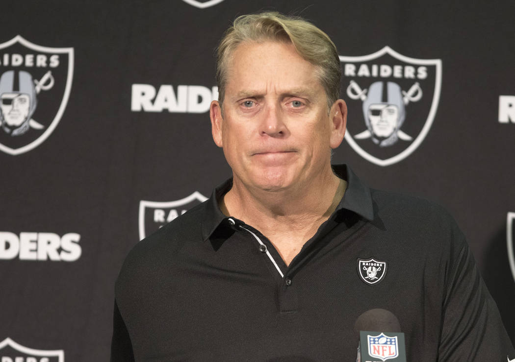 Oakland Raiders Jack Del Rio during the postgame press conference after the team's loss to the Baltimore Ravens in Oakland, Calif., Sunday, Oct. 8, 2017. Heidi Fang Las Vegas Review-Journal @HeidiFang