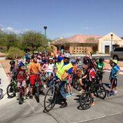 A group of bike riders get ready to take to the road, Nov. 11, 2017. The local bicycle coalition is trying to make motorists aware of the Three Feet Law, which required drivers to maintain a three ...