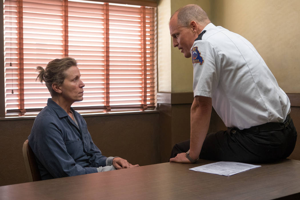 Frances McDormand and Woody Harrelson in the film Three Billboards Outside Ebbing, Missouri.  Photo by Merrick Morton. © 2017 Twentieth Century Fox Film Corporation All Rights Reserved