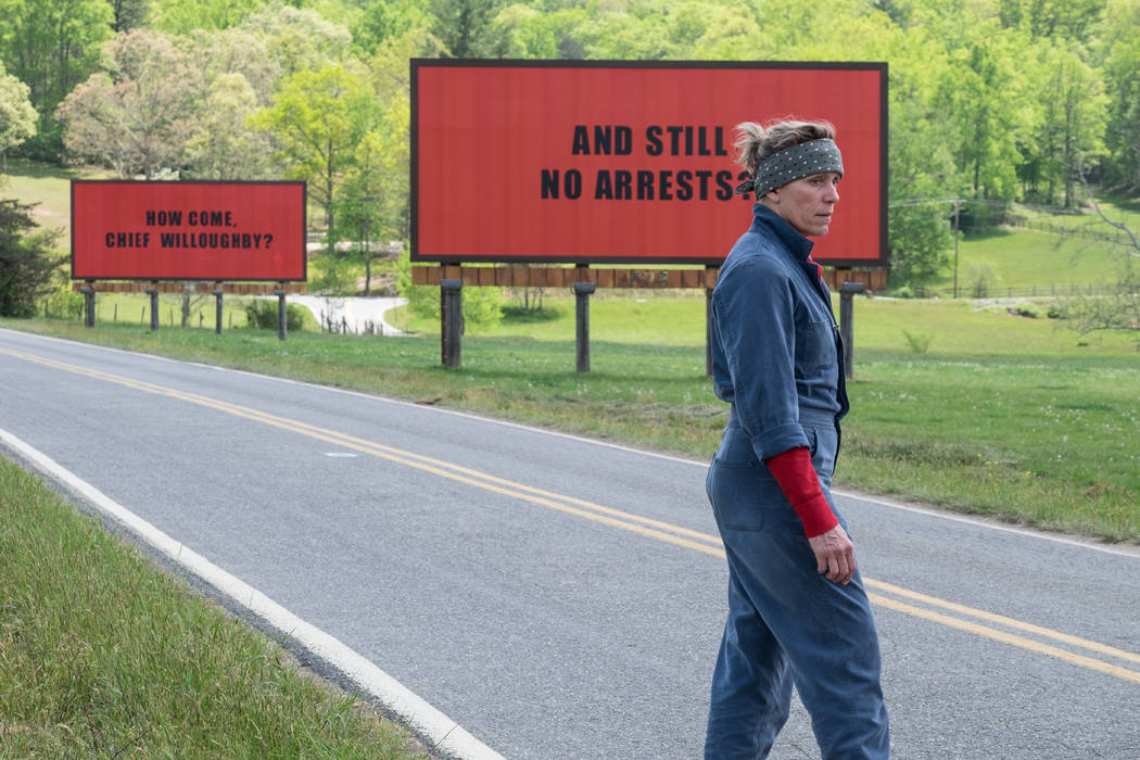 Frances McDormand in the film Three Billboards Outside Ebbing, Missouri. Photo by Merrick Morton. © 2017 Twentieth Century Fox Film Corporation All Rights Reserved