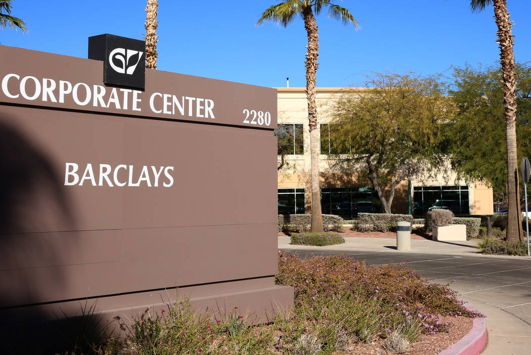 Barclays building at 2280 Corporate Center Circle photographed on Wednesday, Nov. 22, 2017, in Henderson. New York investors bought two office buildings in Green Valley for about $36 million. Bizu ...