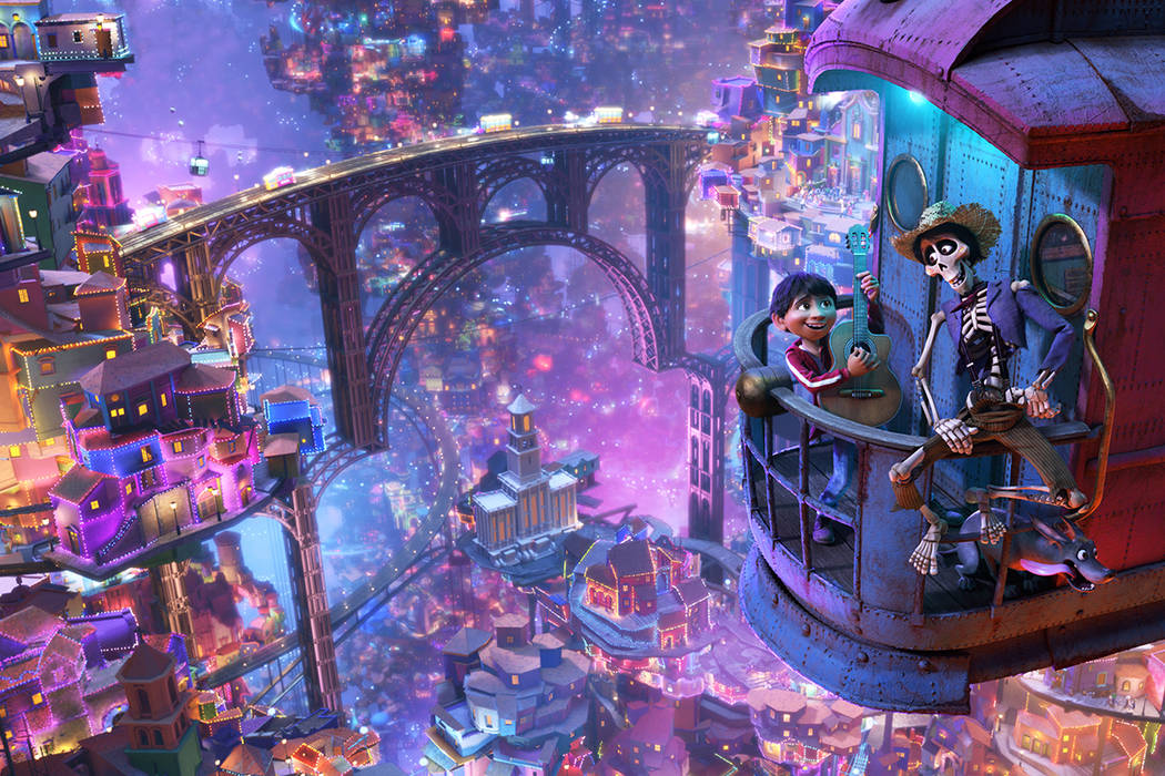 "In this image released by Disney-Pixar, character Hector, voiced by Gael Garcia Bernal, right, and Miguel, voiced by Anthony Gonzalez, appear in a scene from the animated film, ""Coco."" (Disney-Pix ..."