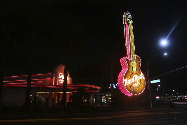 The Neon Museum is planning to restore and transport the famous Hard Rock Cafe Gibson guitar sign to its Neon Boneyard display property in downtown Las Vegas. (Mark Antonuccio/Las Vegas Review-Jou ...