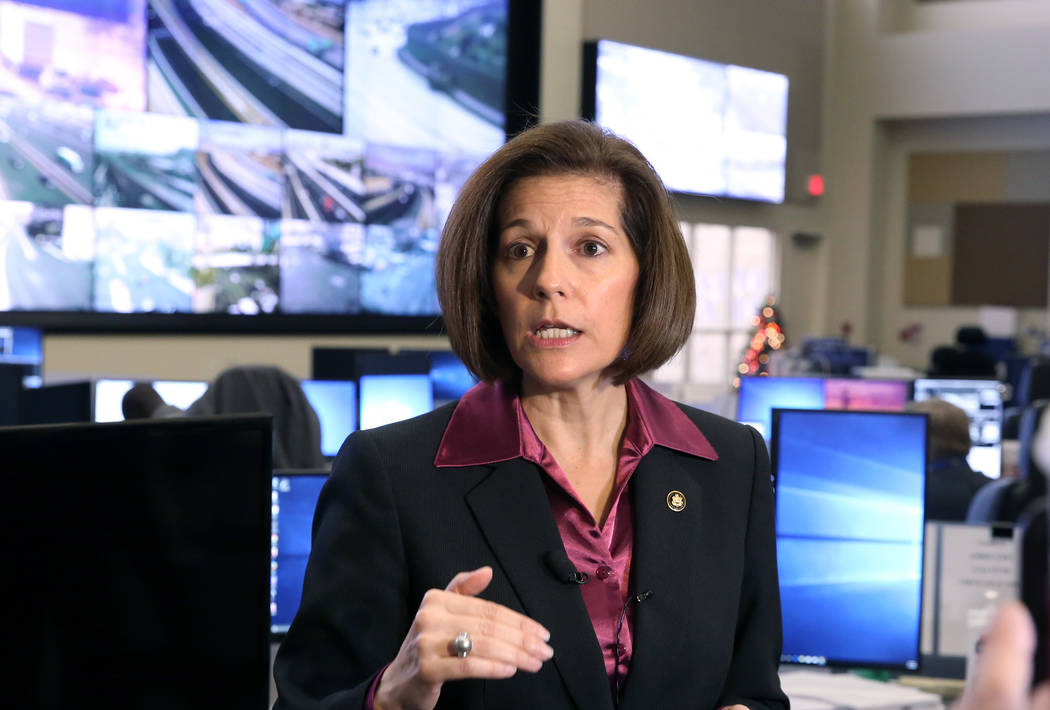 Sen. Catherine Cortez Masto, D-Nev., speaks on Tuesday, Nov. 21, 2017 at the FAST traffic management center in Las Vegas. Cortez Masto discussed about transportation issue and her recent introduct ...