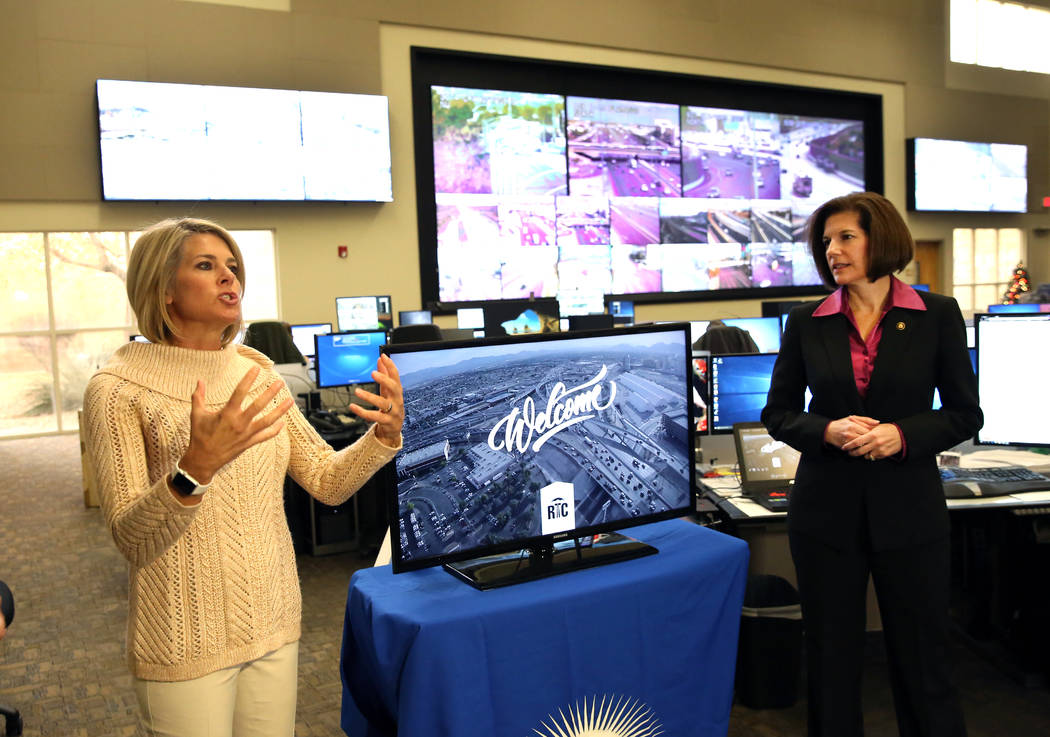 Tina Quigley, left, general manager of the Regional Transportation Commission of Southern Nevada, speaks as Sen. Catherine Cortez Masto, D-Nev., looks on at the FAST traffic management center Tues ...