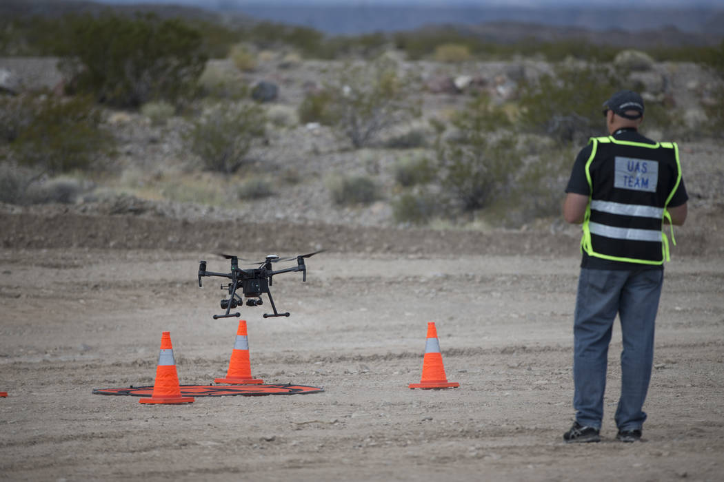 Jeff Scholl, chief technology officer for Quadrocopter, during a demonstration of the DJI Matrice 200 drone at the Henderson Unmanned Vehicle Range in Henderson, Tuesday, Sept. 5, 2017. (Erik Verd ...
