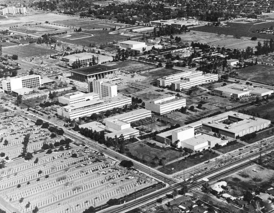 An aerial view of California State University, Northridge, around 1973. The Las Vegas shooter attended the university from 1971 to 1977. (CSUN University Archives)
