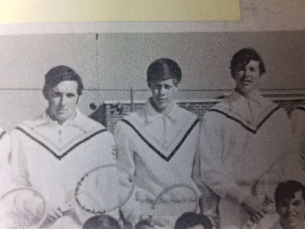 In this 1970 yearbook photo, Stephen Paddock, center, poses with the tennis team at John H. Francis Polytechnic High School. Paddock would go on to kill 58 people and injure over 500 in the Oct. 1 ...