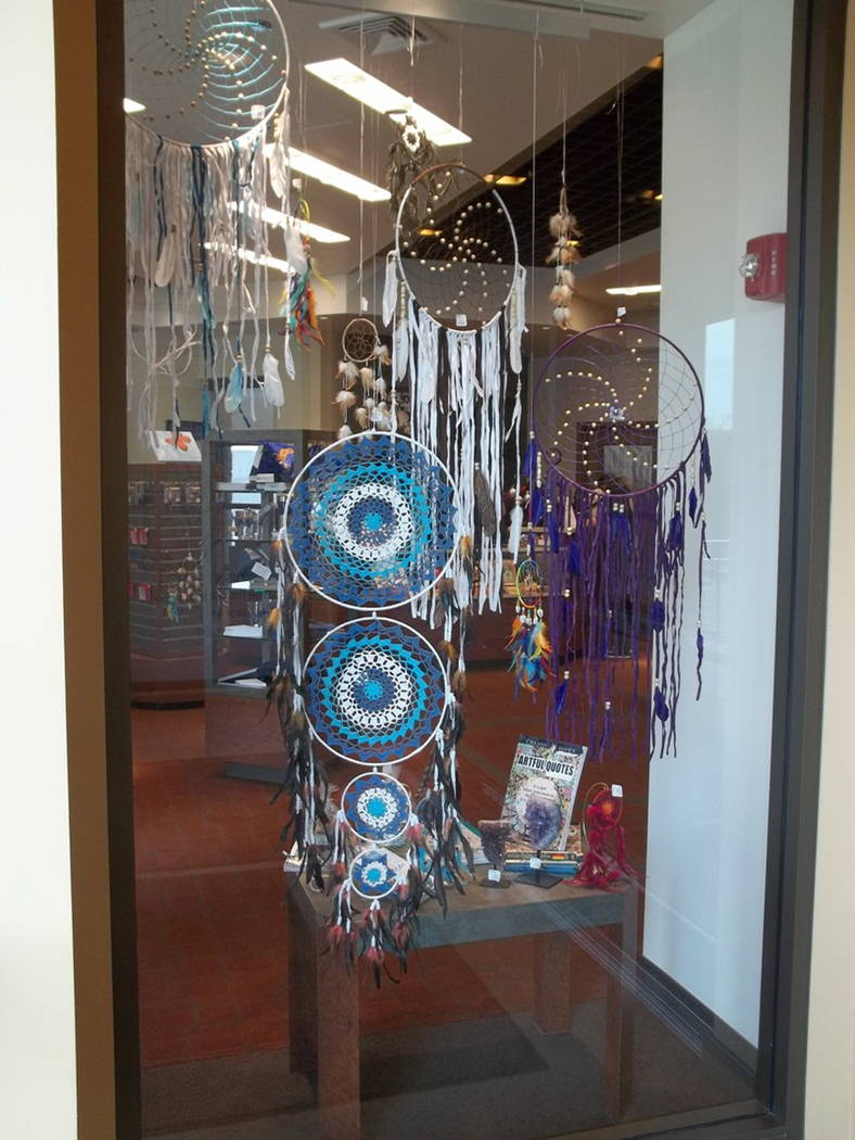 Dreamcatchers light up a window at the gift shop at the Nevada State Museum, Las Vegas