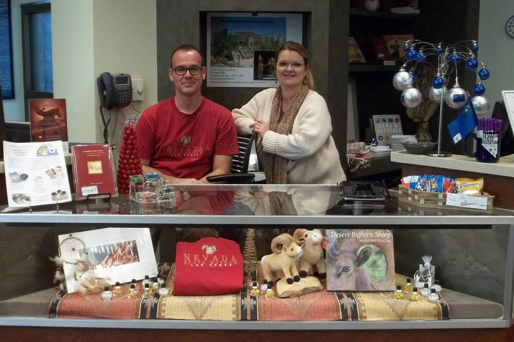 Gift shop employees James Capp, Josephine Kleinick at Nevada State Museum, Las Vegas