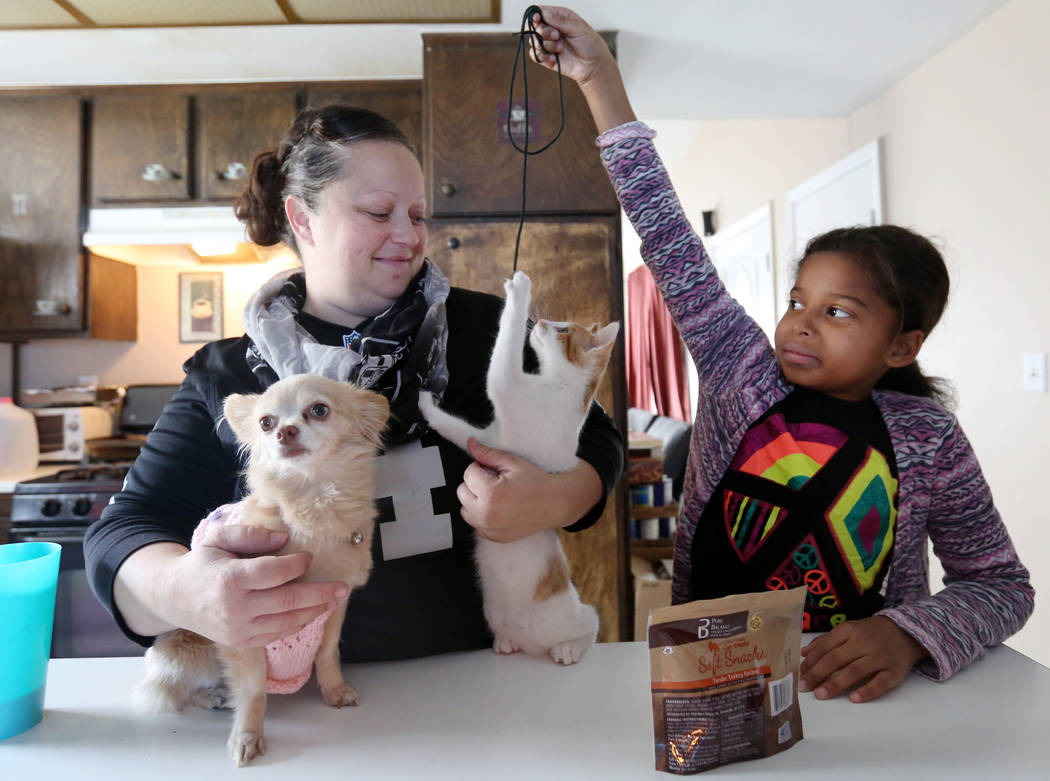 Elena Saccapilltio, left, and her daughter Dahlia Ross, 10, play with their pets in their home in Las Vegas on Tuesday, Nov. 21, 2017.  Elizabeth Brumley Las Vegas Review-Journal @EliPagePhoto