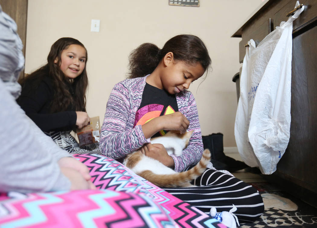 Rozlyn Segars, 13, left, and Dahlia Ross, 10, center, play with their pets in their home in Las Vegas on Tuesday, Nov. 21, 2017.  Elizabeth Brumley Las Vegas Review-Journal @EliPagePhoto