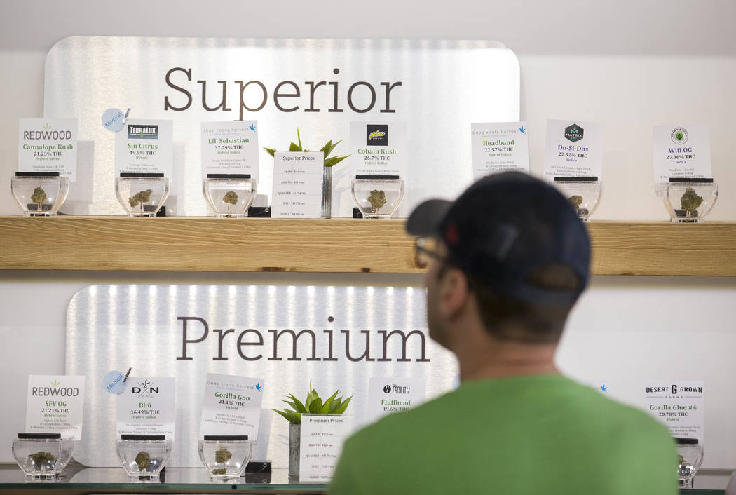 A customer browses the cannabis on display at The Source cannabis dispensary in Henderson on Friday, Oct. 20, 2017. Richard Brian Las Vegas Review-Journal @vegasphotograph