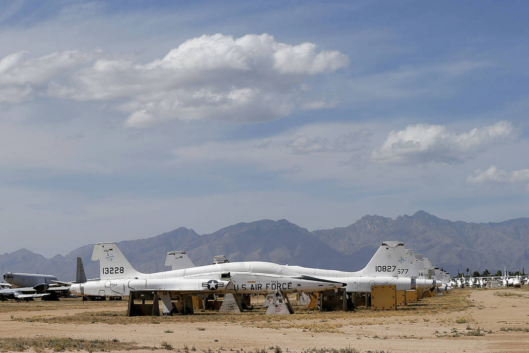 Air Force Northrop T-38 Talon trainer jets are stored at the 309th Aerospace Maintenance and Regeneration Group boneyard Thursday, May 14, 2015 at Davis-Monthan Air Force Base in Tucson, Ariz. (AP ...