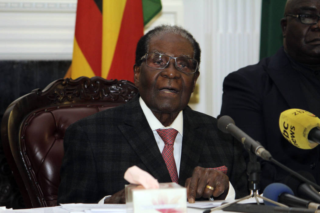 Zimbabwean President Robert Mugabe delivers his speech during a live broadcast at State House in Harare, Sunday, Nov, 19, 2017. (AP)