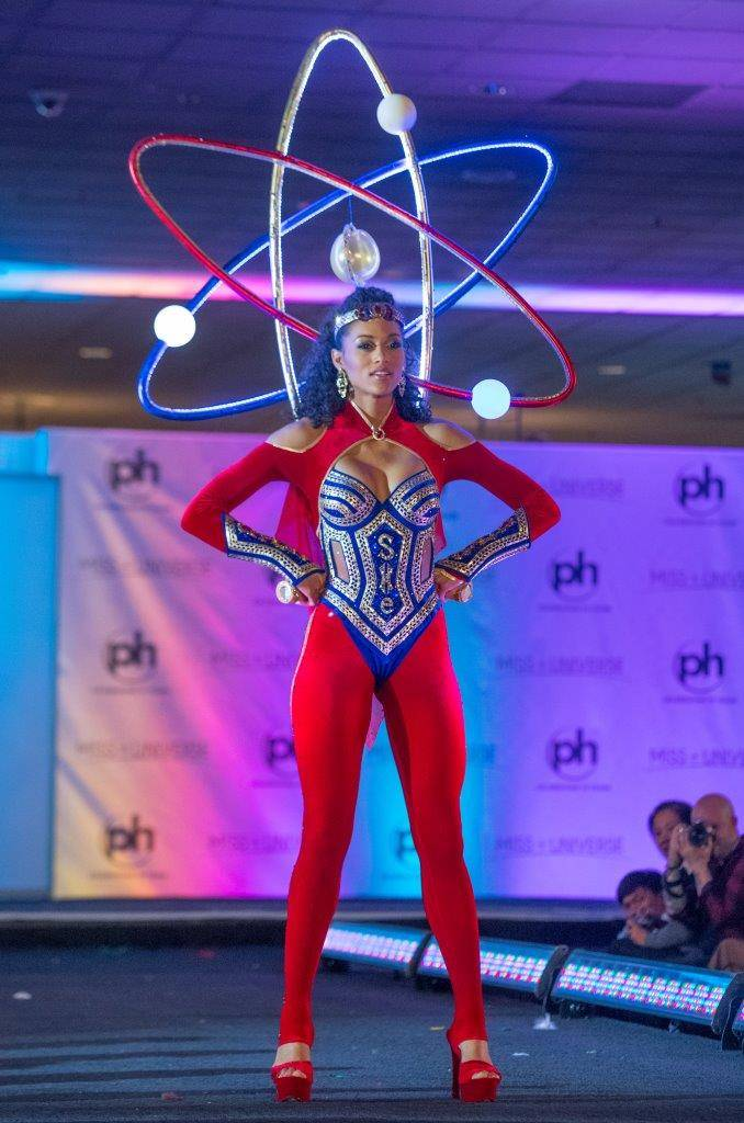 Miss USA, Kara McCullough, a nuclear scientist from Washington, D.C. wowed the crowd as a neutron in the stars and stripes colors for the National Costumes presentation at the International Parade ...