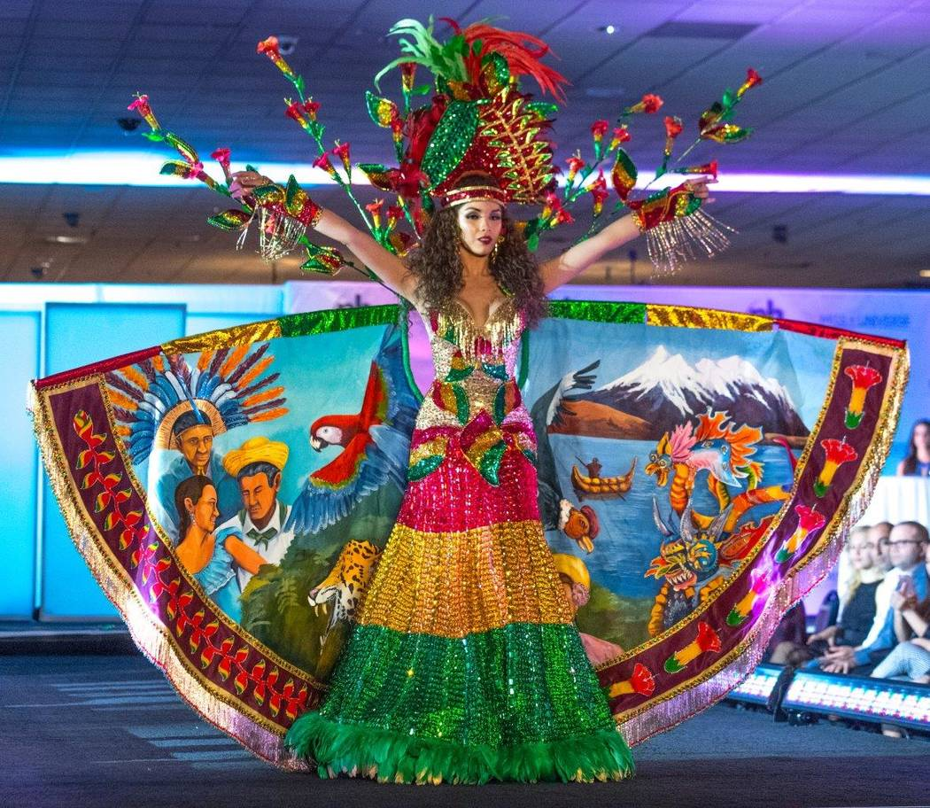 Miss Universe contestants participate in the National Costumes presentation at the International Parade at Planet Hollywood. (Tom Donoghue)
