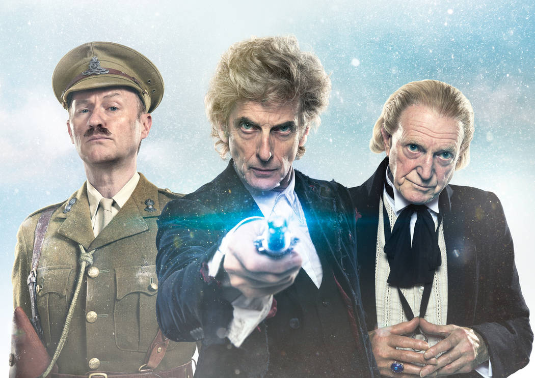 "Mark Gatiss as The Captain, Peter Capaldi as The Doctor and David Bradley as The First Doctor in "" Doctor Who Christmas Special."" Ray Burmiston/Noise In Colour"