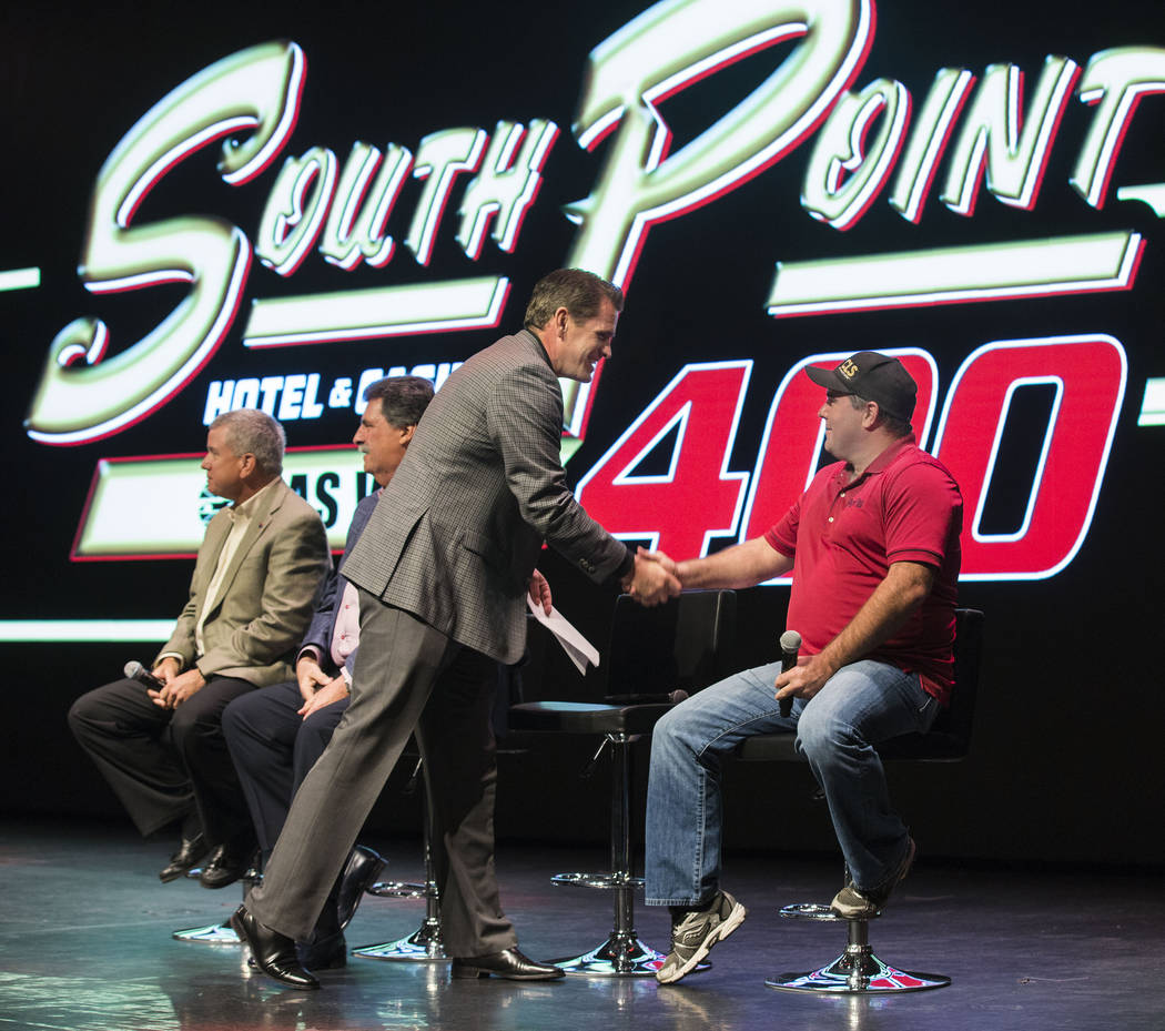 South Point general manager Ryan Growney, left, shakes hands with Brendan Gaughan after the Growney announced that the South Point hotel-casino will be the title sponsor of the September Monster E ...
