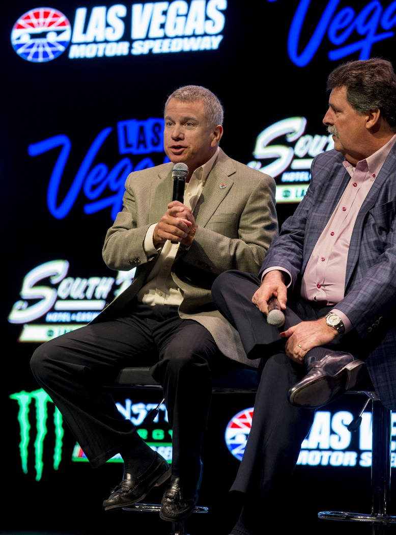 President of Las Vegas Motor Speedway Chris Powell speaks during the South Point hotel-casino's announcement that it will be the title sponsor of the September Monster Energy NASCAR Cup Series rac ...