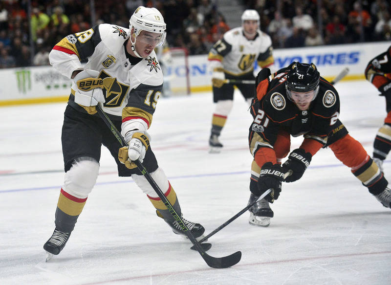 November 22, 2017; Anaheim, CA, USA; Vegas Golden Knights right wing Reilly Smith (19) moves the puck against Anaheim Ducks center Chris Wagner (21) during the first period at Honda Center. Mandat ...
