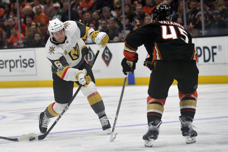 November 22, 2017; Anaheim, CA, USA; Vegas Golden Knights defenseman Colin Miller (6) shoots against the defense of Anaheim Ducks defenseman Sami Vatanen (45) during the first period at Honda Cent ...