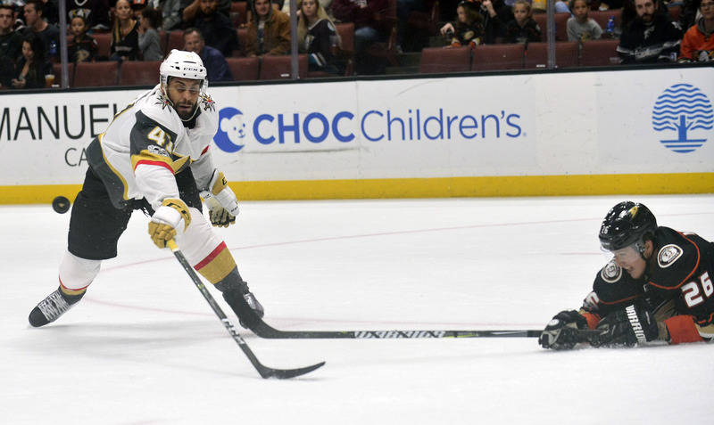 November 22, 2017; Anaheim, CA, USA; Vegas Golden Knights left wing Pierre-Edouard Bellemare (41) loses the puck against the defense of Anaheim Ducks defenseman Brandon Montour (26) during the fir ...