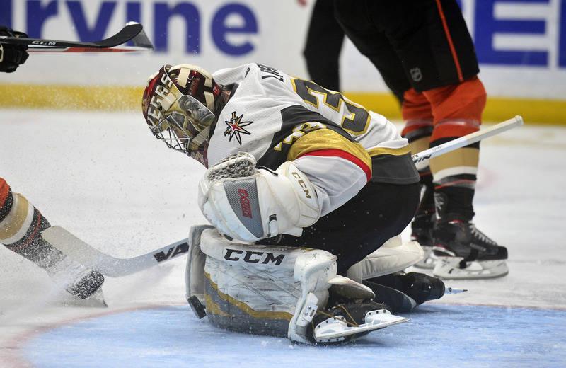 November 22, 2017; Anaheim, CA, USA; Vegas Golden Knights goalie Maxime Lagace (33) blocks a shot against the Anaheim Ducks during the second period at Honda Center. Mandatory Credit: Gary A. Vasq ...