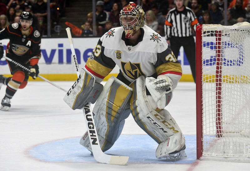 November 22, 2017; Anaheim, CA, USA; Vegas Golden Knights goalie Maxime Lagace (33) defends the goal against the Anaheim Ducks during the second period at Honda Center. Mandatory Credit: Gary A. V ...