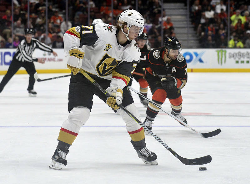 November 22, 2017; Anaheim, CA, USA; Vegas Golden Knights center William Karlsson (71) moves the puck against the Anaheim Ducks during the third period at Honda Center. Mandatory Credit: Gary A. V ...
